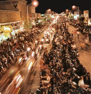 Sturgis Motorcycle Rally street at night