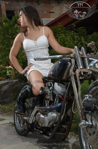 Dani at the Motorcycle Contortionists Photoshoot
