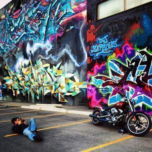 Snapping pictures of the Harley-Davidson Breakout