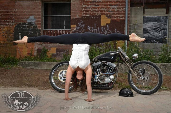 Motorcycle contortionist photo shoot - Danielle