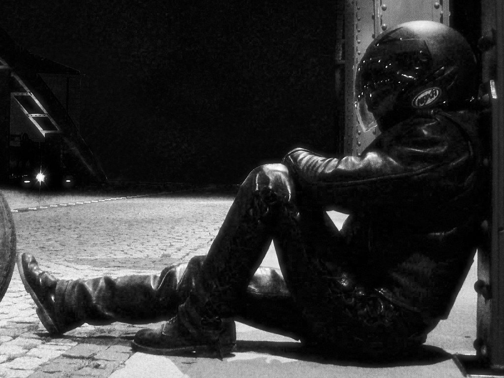 Lonely motorcyclist