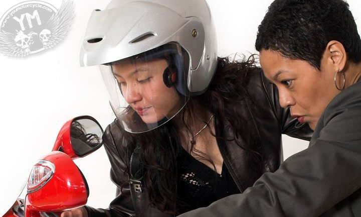 Mother and Daughter Buying a Motorcycle