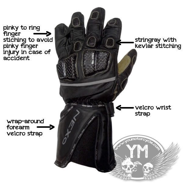 NEXO Kangaroo Leather Motorcycle Gloves
