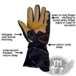 NEXO Kangaroo Leather Motorcycle Gloves Palm