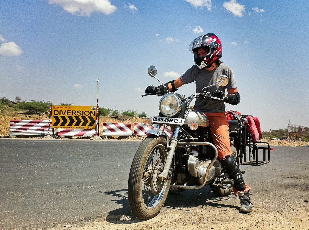 Royal Enfield on a dirty road