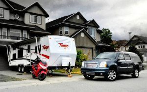 Scooter, Trailer and SUV