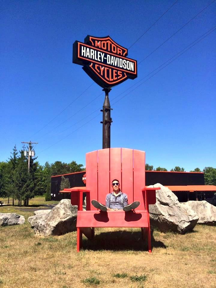 Adrian - Visiting Fox Harley-Davidson after working for HD Canada