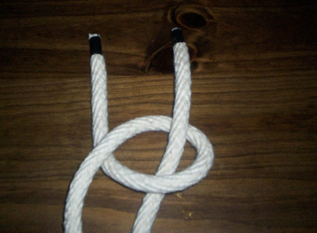 Bowline Step 2 - Bring the rabbit up through the rabbit hole