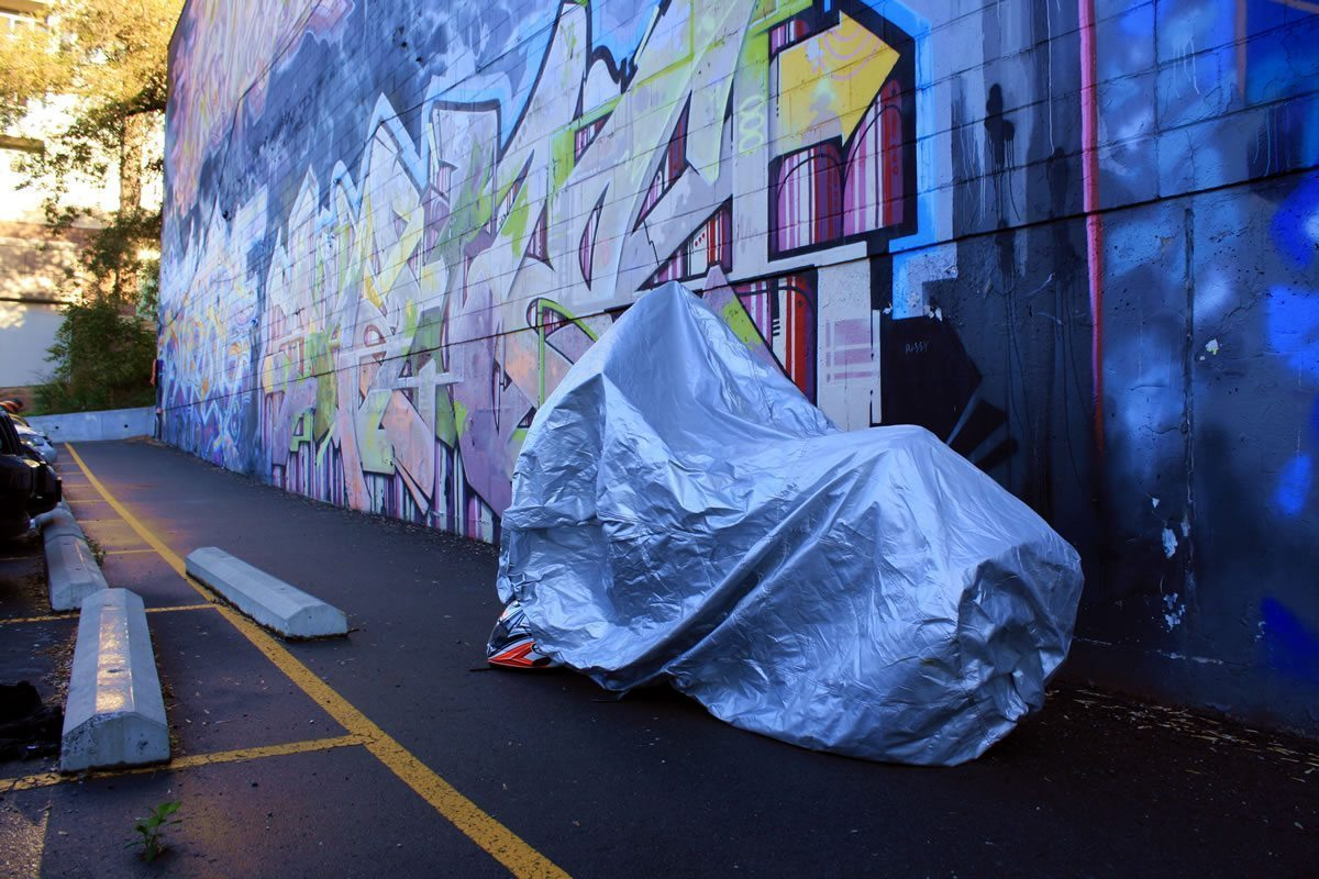 CarCovers Motorcycle Cover Review - Back View