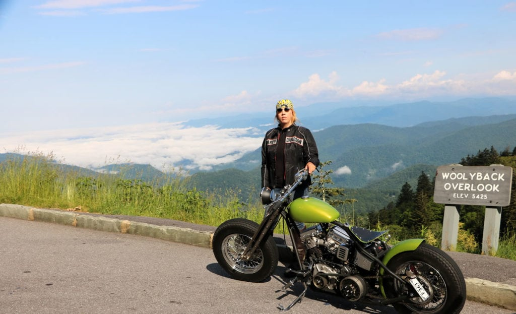 Chris and her panhead