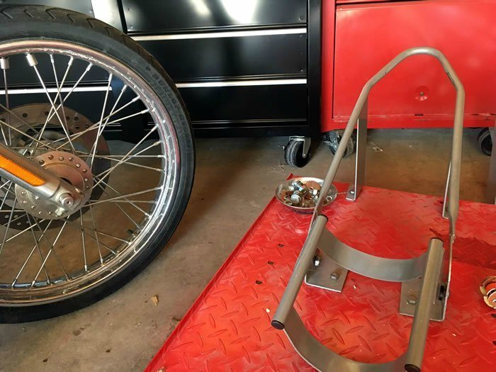 DIY Motorcycle Table Lift Side Extensions - wheel chock