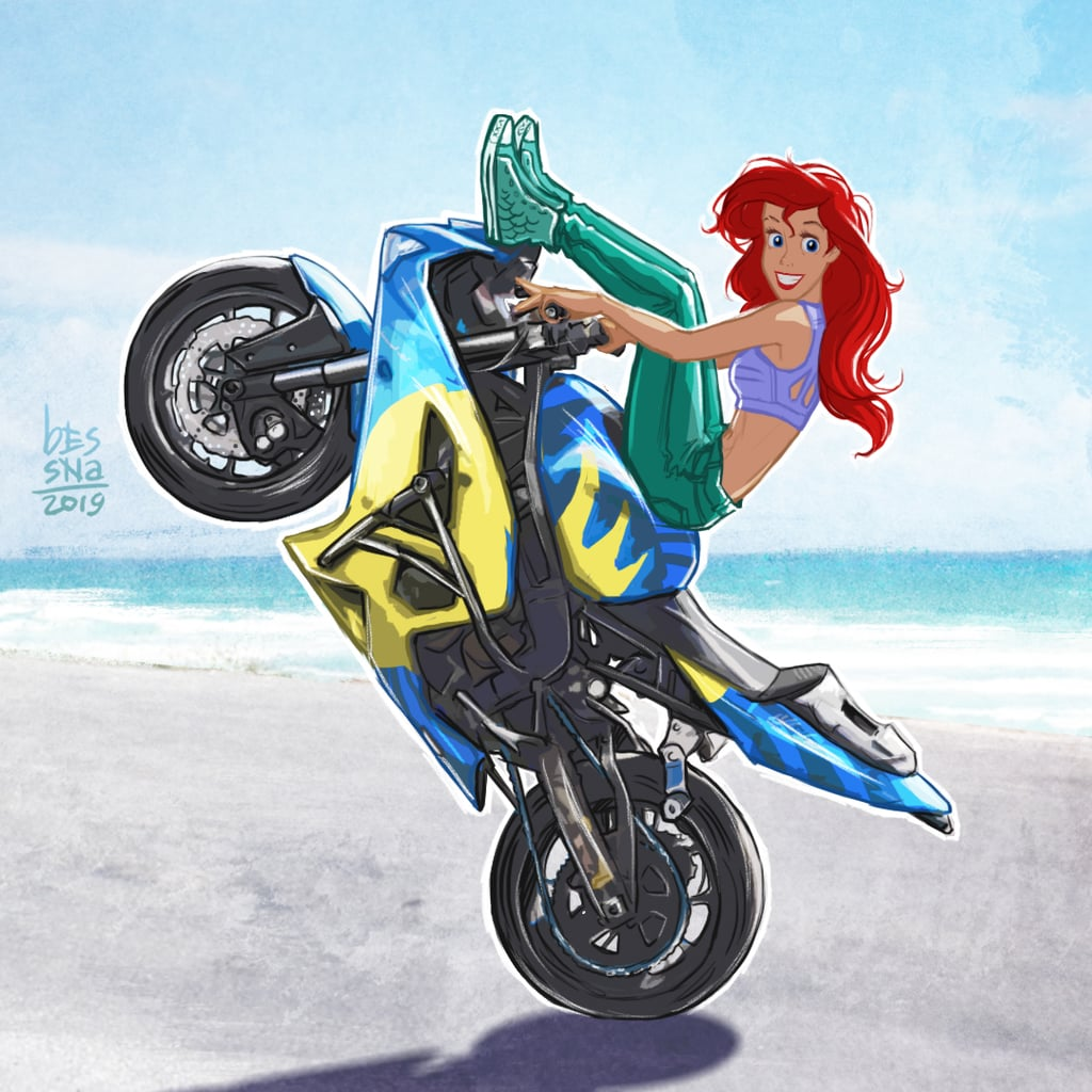Disney Princess Ariel on a Motorcycle