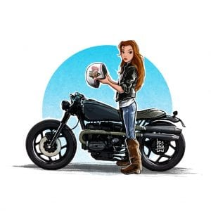 Disney Princess Belle on a Motorcycle