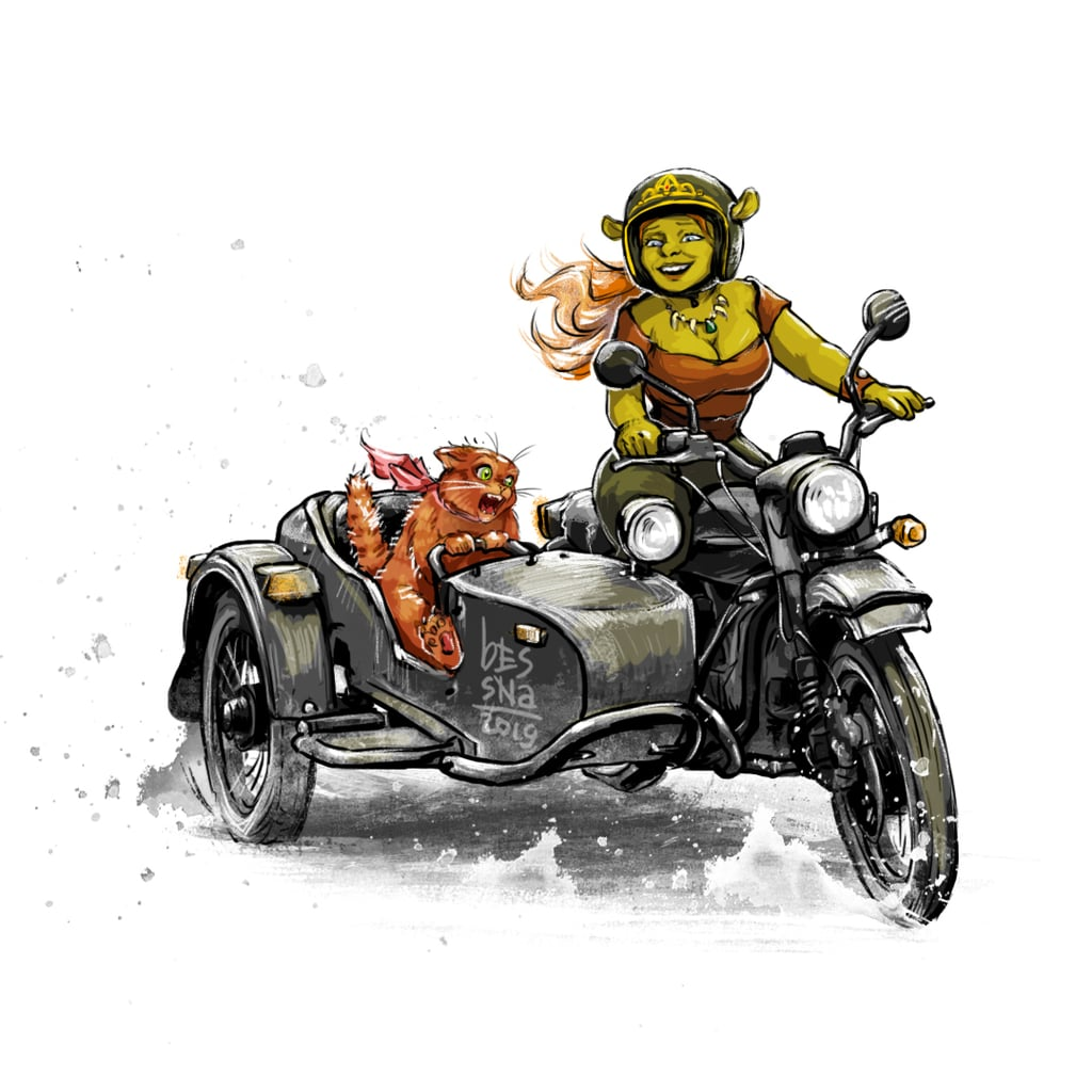 Disney Princess Fiona on a Motorcycle