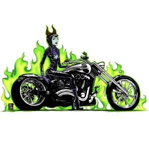 Disney Princess Maleficent on a Motorcycle
