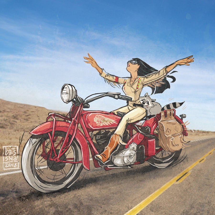Disney Princess Pocahontas on a Motorcycle