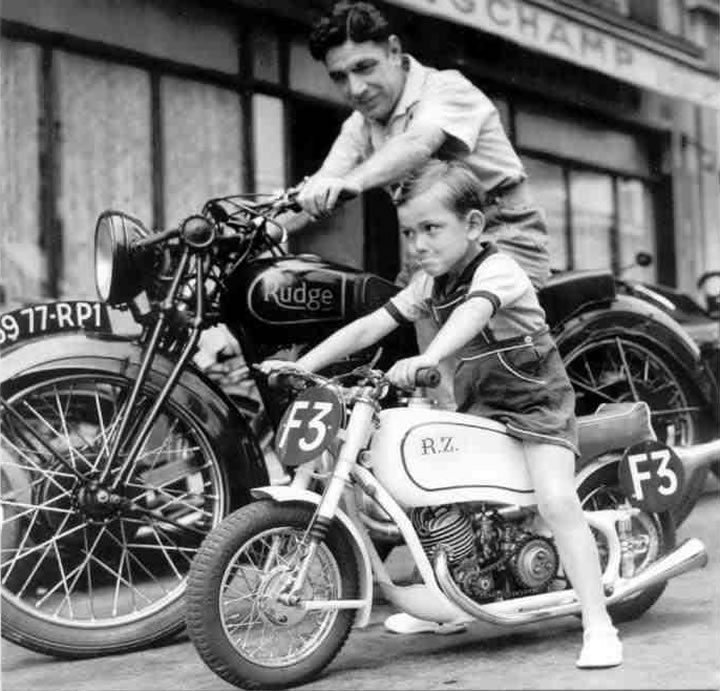 Father and Son on Vintage Motorcycles