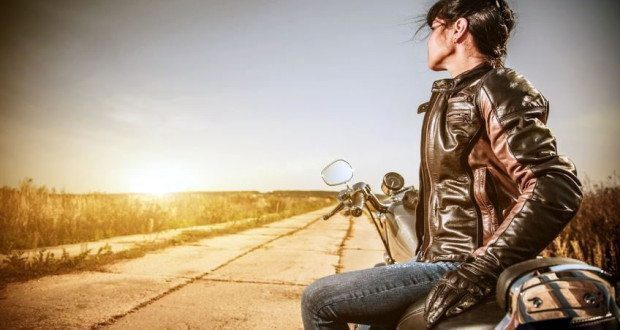 Female motorcyclist out for a ride