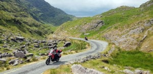 Balagh Beama Gap, one of the highest mountain passes in Ireland. The extremely narrow road is impassable for anything larger than a small car. More fun for us!