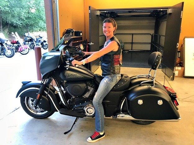 Jessie on her 2017 Indian Chieftain Dark Horse