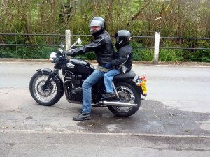Kevin and his son on 2004 Triumph Bonneville