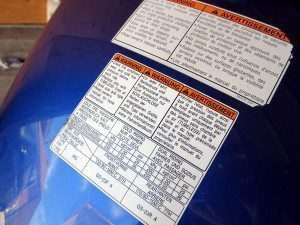 Motorcycle Gas Tank Warning Labels