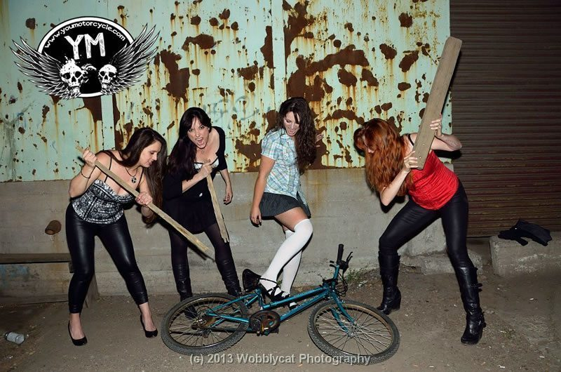 Motorcycle Girls Attack Bicycle