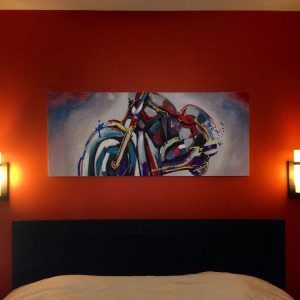 Motorcycle Painting over Bed Headboard