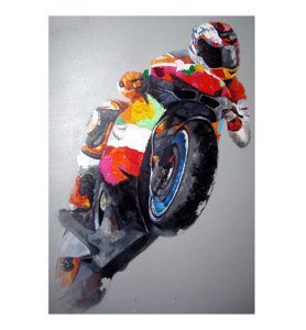 Motorcycle Racer Oil Painting