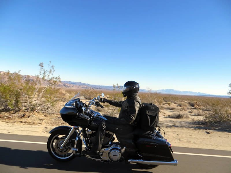 Motorcycle Riding Box Canyon by Joshua Tree