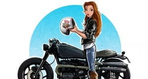 Motorcycle-Riding Disney Princesses