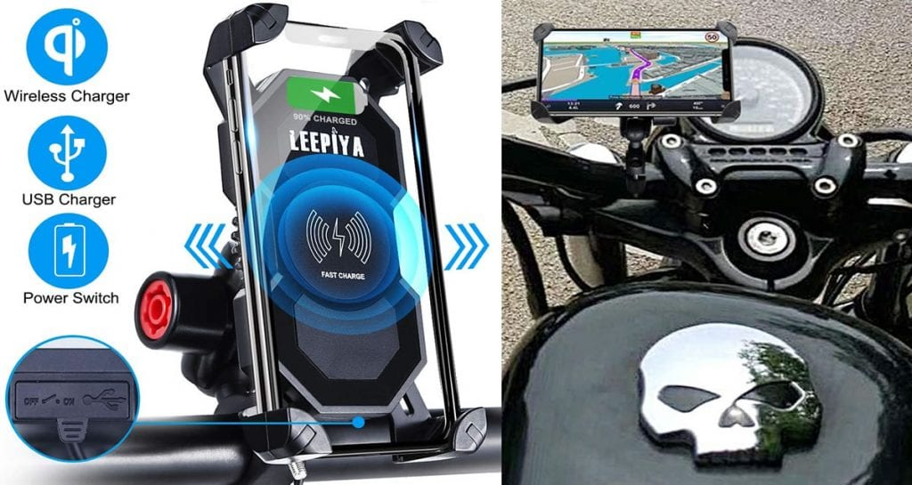 Motorcycle phone mount with wireless charging