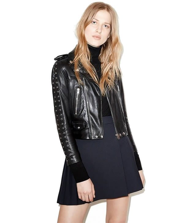 The Kooples Leather Jacket with Laced Cuffs