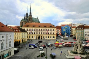 The historic town square of Brno