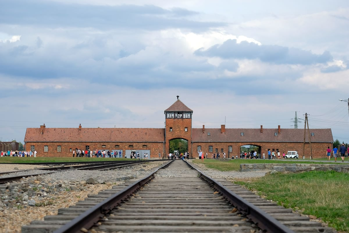 The infamous entrance to Auschwitz