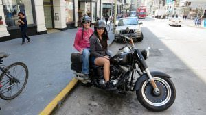 Us on the Harley-Davidson Fatboy Rental in San Francisco