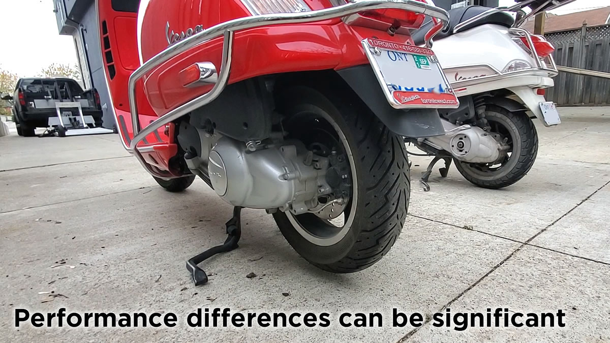 Vespa performance top speed power differences can be significant
