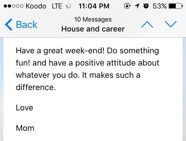 Weekend Email from Mom