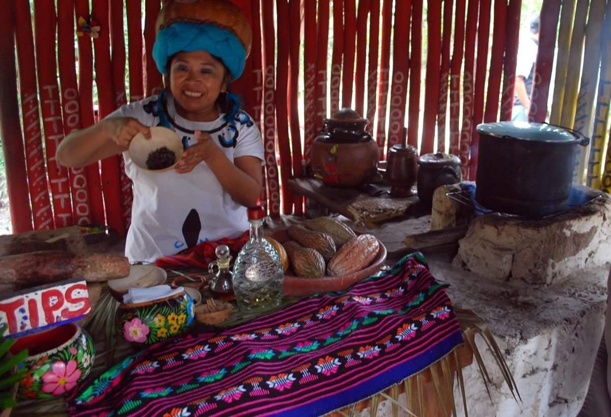 Woman makes real Mayan Chocolate