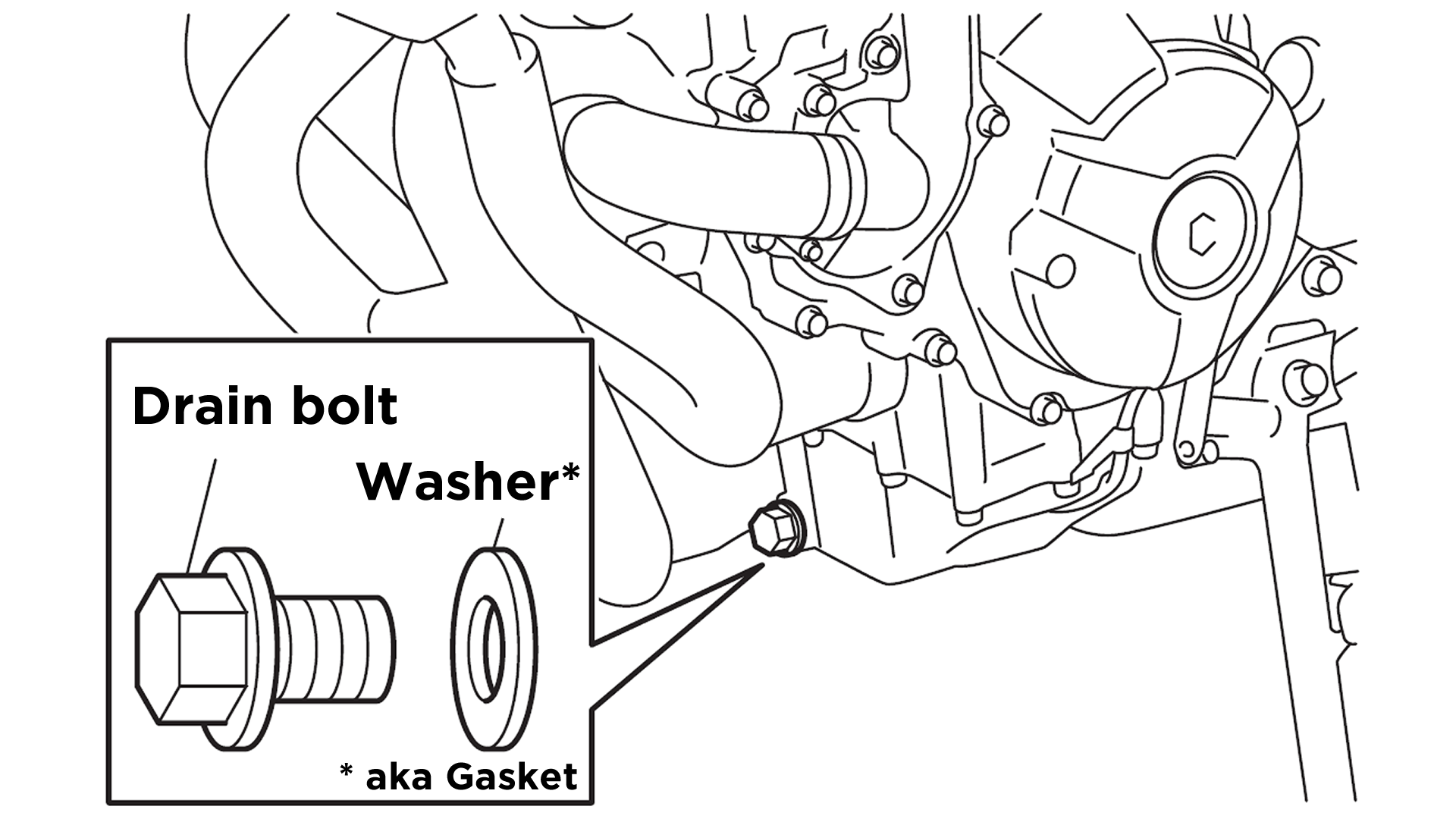 Step 2) Remove drain bolt and washer