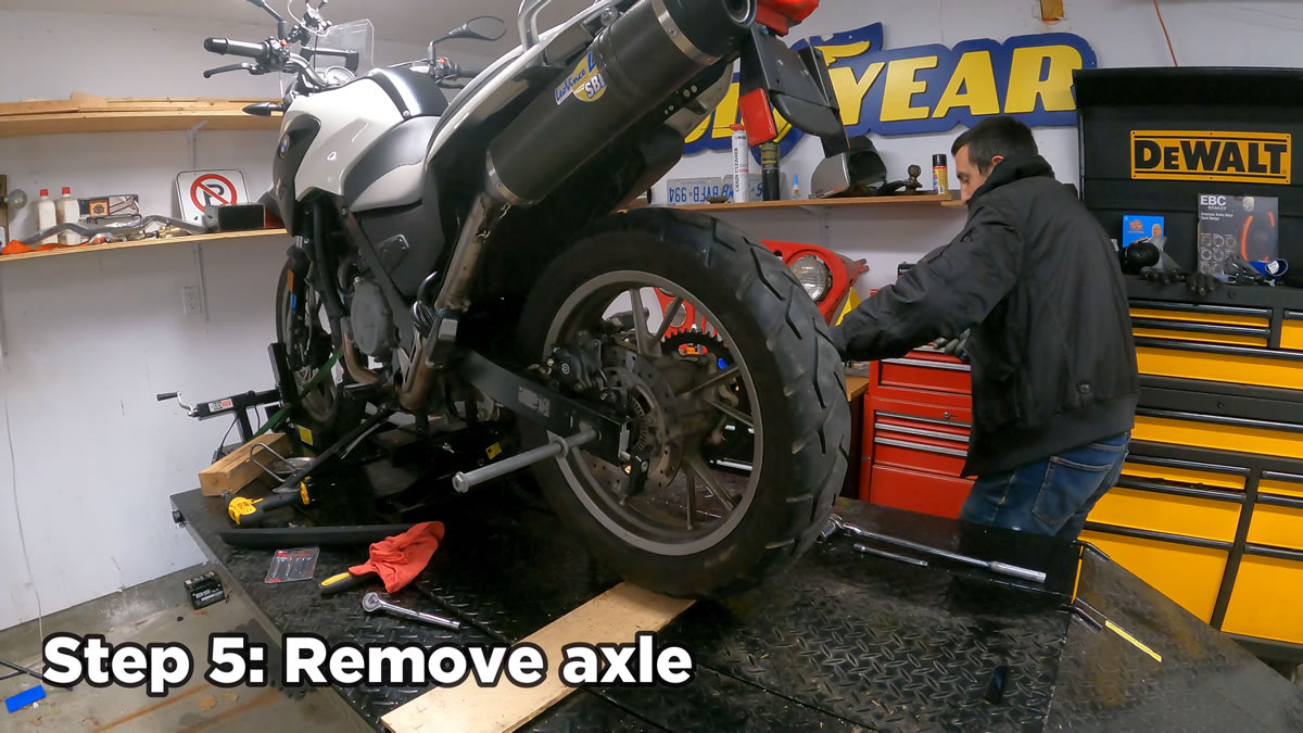 how to remove rear motorcycle wheel - remove axle