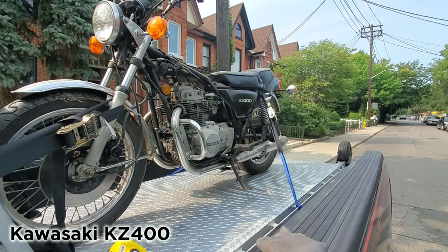 Kawasaki KZ 400 being delivered by Motorcycle Towing Toronto