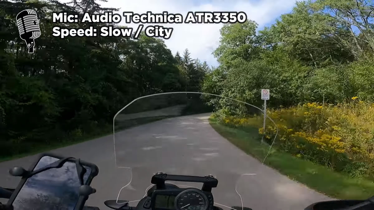 motovlogging with the audiotechnica atr3350 mic