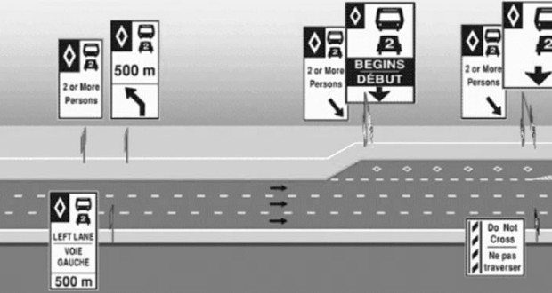 HOV Signs and Lanes for Motorcycles and Scooters